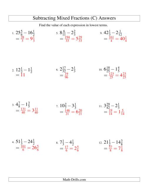 The Subtracting Mixed Fractions Hard Version (C) Math Worksheet Page 2