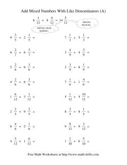 fractions worksheets adding mixed fractions worksheets