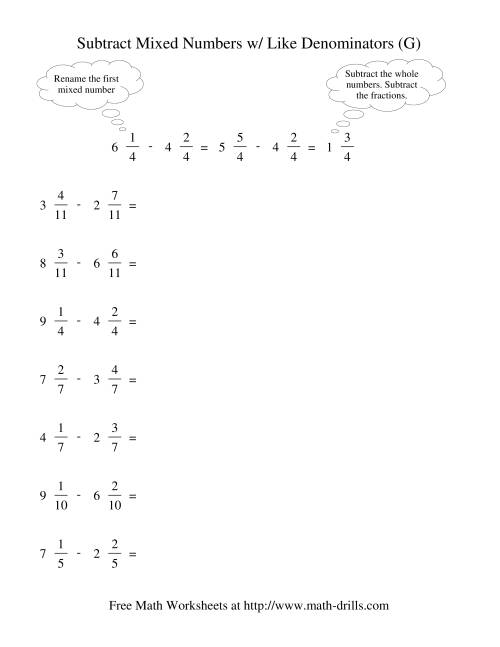 The Subtracting Mixed Fractions -- Like Denominators Renaming No Reducing (G) Math Worksheet