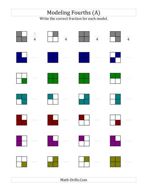 math worksheet : fourths models color version  a understanding fractions worksheet : Modeling Fractions Worksheet