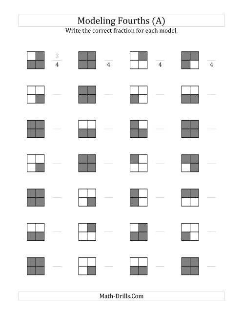 Fourths Models Grey Version A Understanding Fractions Worksheet – Learn Fractions Worksheets