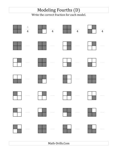 The Fourths Models (Grey Version) (D) Math Worksheet
