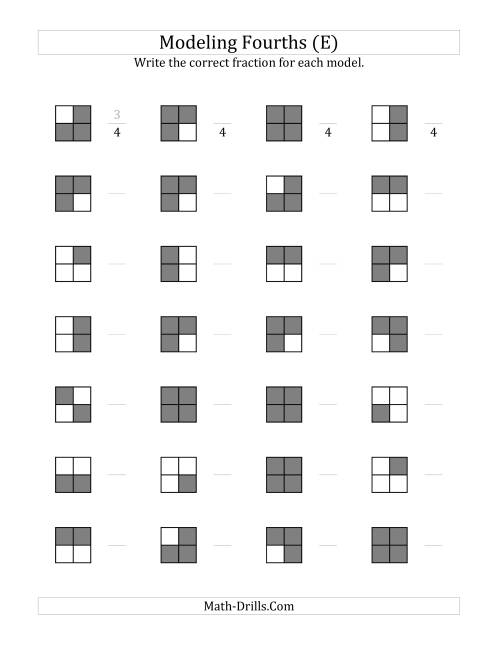 The Fourths Models (Grey Version) (E) Math Worksheet