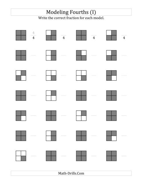The Fourths Models (Grey Version) (I) Math Worksheet