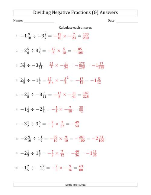 The Dividing Negative Mixed Fractions with Denominators to Twelfths (G) Math Worksheet Page 2
