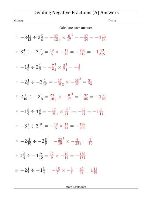 The Dividing Negative Mixed Fractions with Denominators to Twelfths (All) Math Worksheet Page 2
