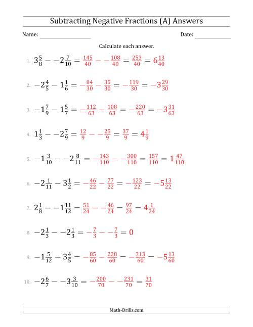 The Subtracting Negative Mixed Fractions with Denominators to Twelfths (A) Math Worksheet Page 2