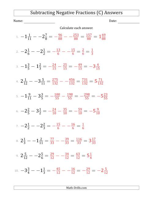 The Subtracting Negative Mixed Fractions with Denominators to Twelfths (C) Math Worksheet Page 2