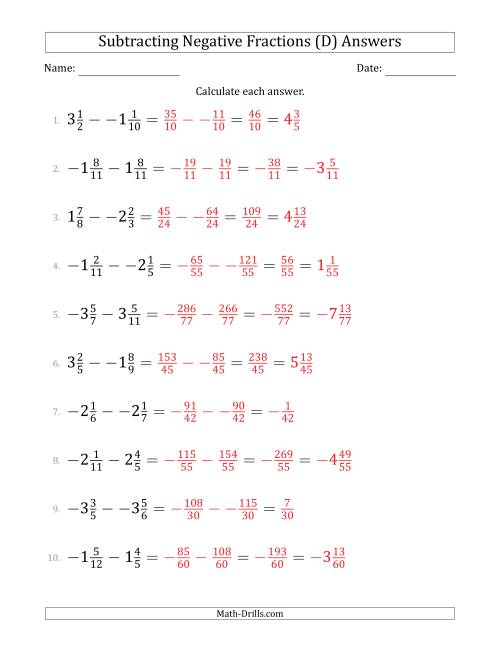 The Subtracting Negative Mixed Fractions with Denominators to Twelfths (D) Math Worksheet Page 2