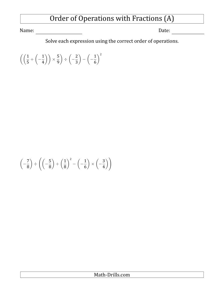 The Order of Operations with Negative and Positive Fractions (Five Steps) (A) Math Worksheet