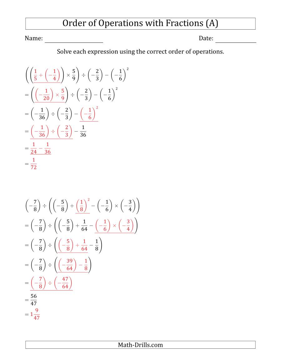 The Order of Operations with Negative and Positive Fractions (Five Steps) (A) Math Worksheet Page 2