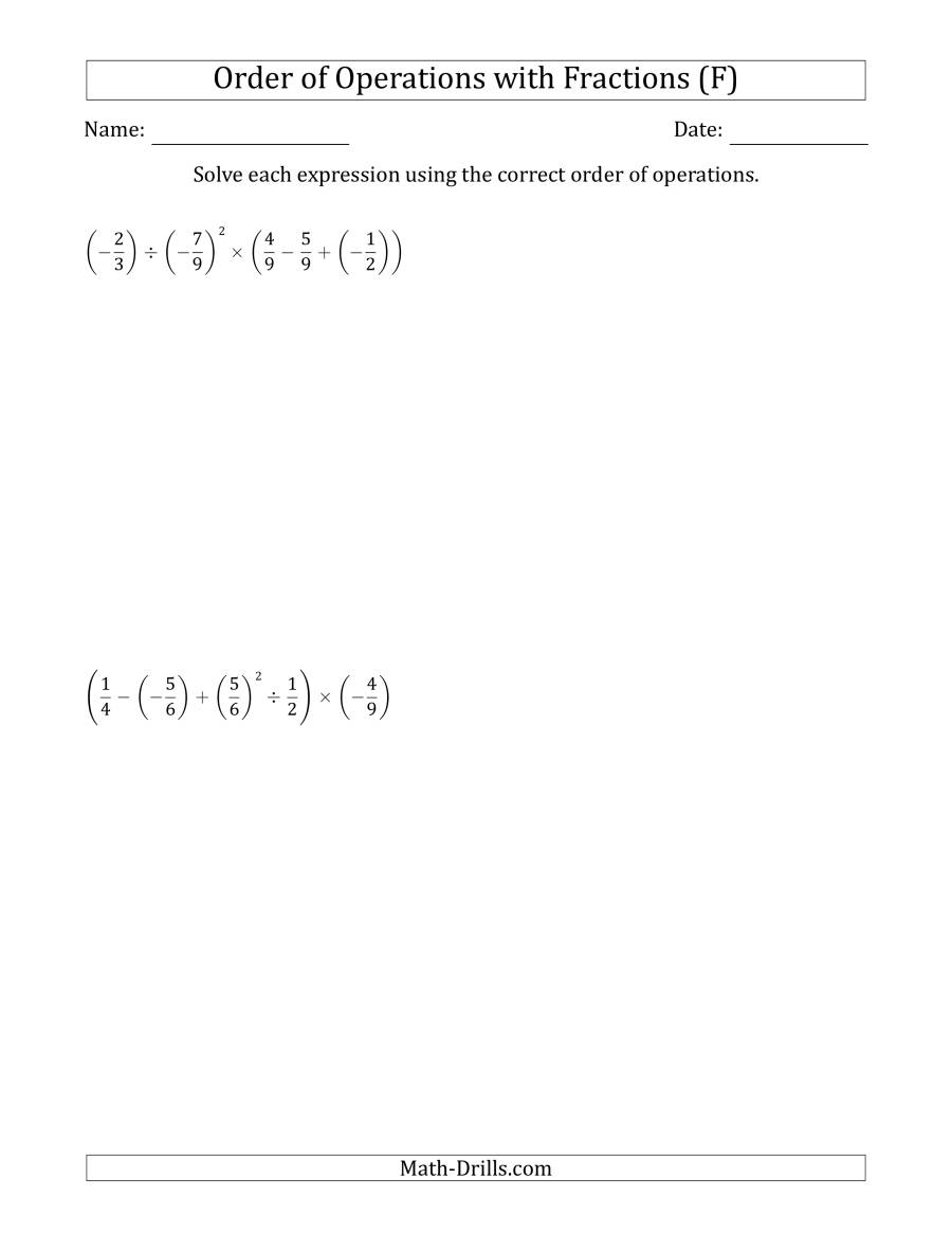 The Order of Operations with Negative and Positive Fractions (Five Steps) (F) Math Worksheet