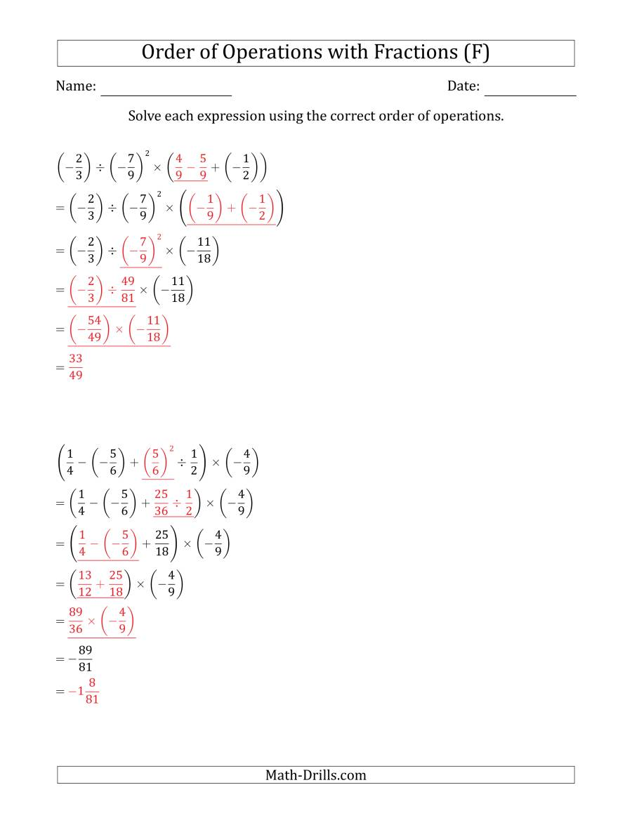 The Order of Operations with Negative and Positive Fractions (Five Steps) (F) Math Worksheet Page 2