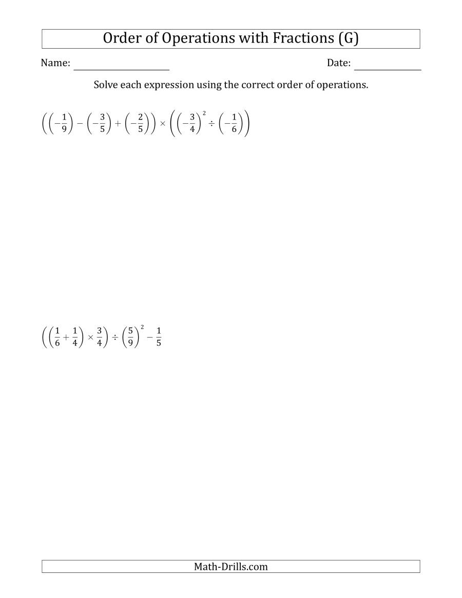 The Order of Operations with Negative and Positive Fractions (Five Steps) (G) Math Worksheet