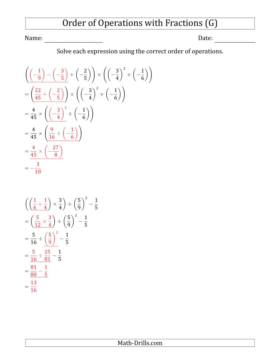 The Order of Operations with Negative and Positive Fractions (Five Steps) (G) Math Worksheet Page 2