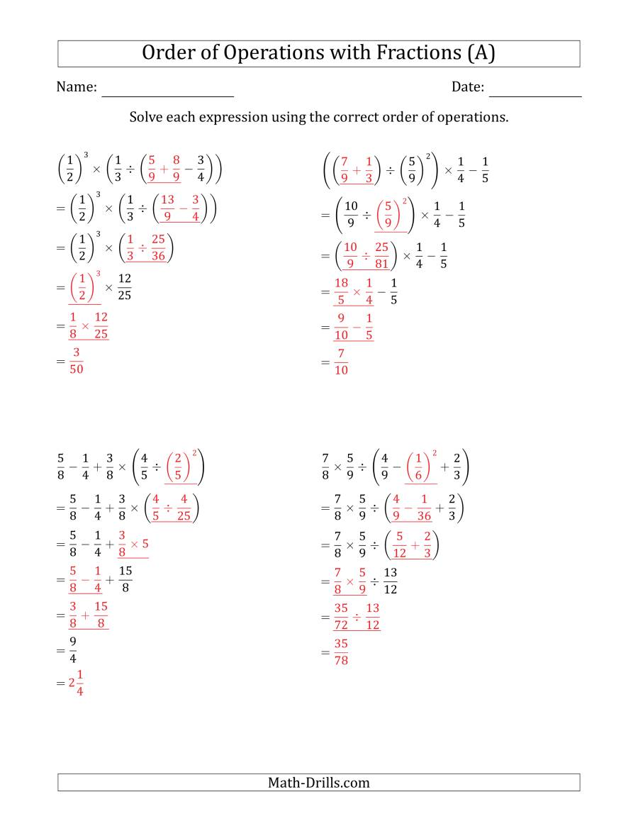 The Order of Operations with Positive Fractions (Five Steps) (A) Math Worksheet Page 2