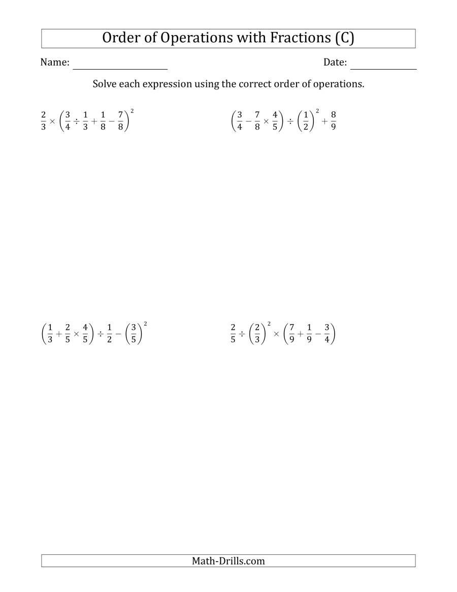 The Order of Operations with Positive Fractions (Five Steps) (C) Math Worksheet