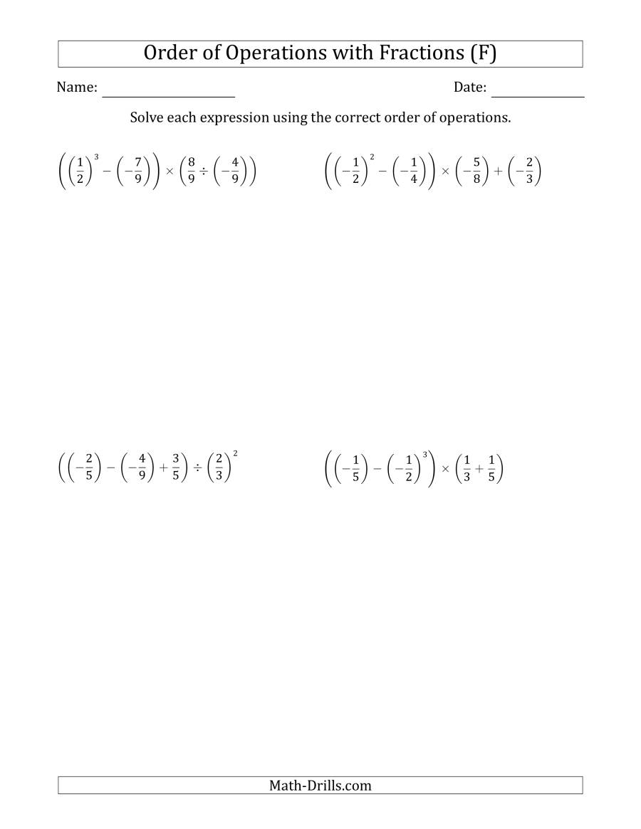 The Order of Operations with Negative and Positive Fractions (Four Steps) (F) Math Worksheet