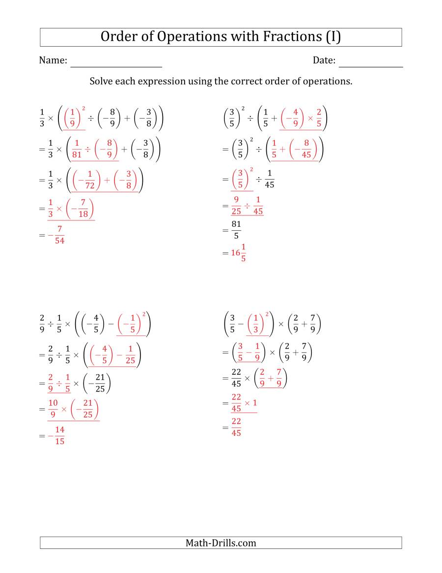 Order of Operations with Negative and Positive Fractions ...