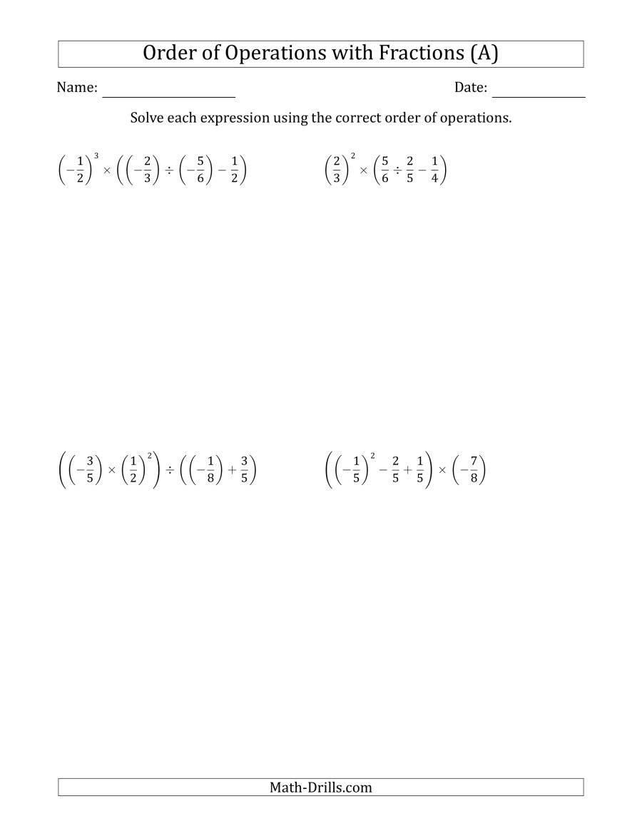 The Order of Operations with Negative and Positive Fractions (Four Steps) (All) Math Worksheet