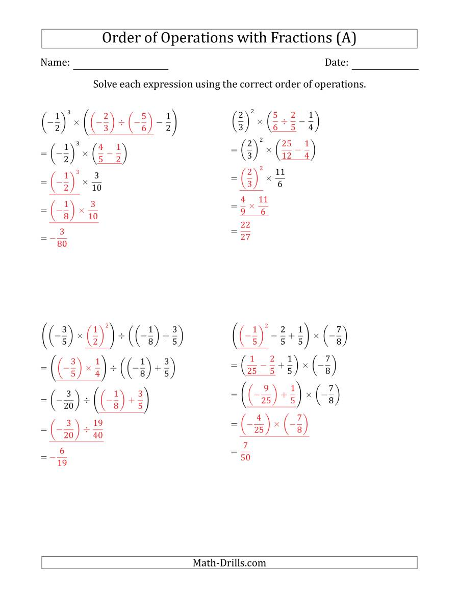 The Order of Operations with Negative and Positive Fractions (Four Steps) (All) Math Worksheet Page 2