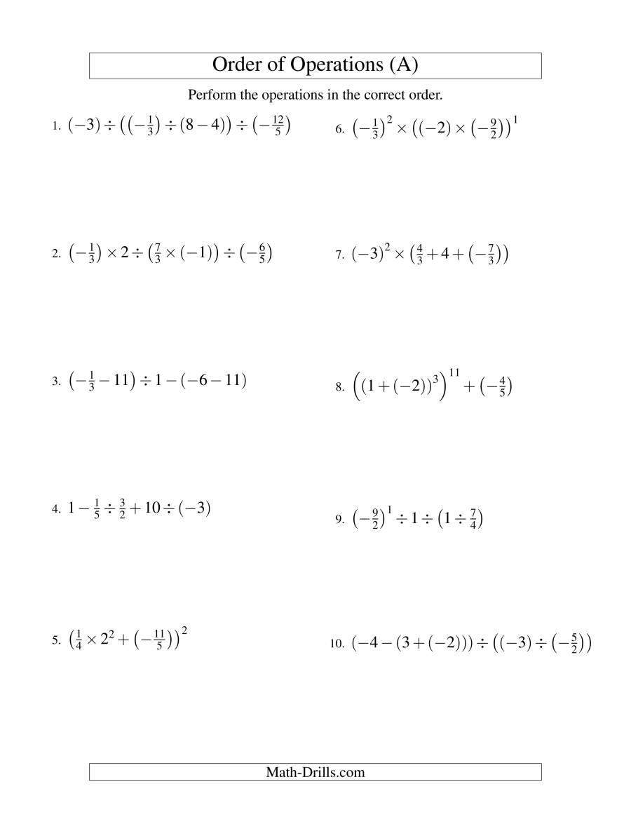 The Order of Operations with Fractions -- Four Steps Including Negative Fractions (Old) Math Worksheet