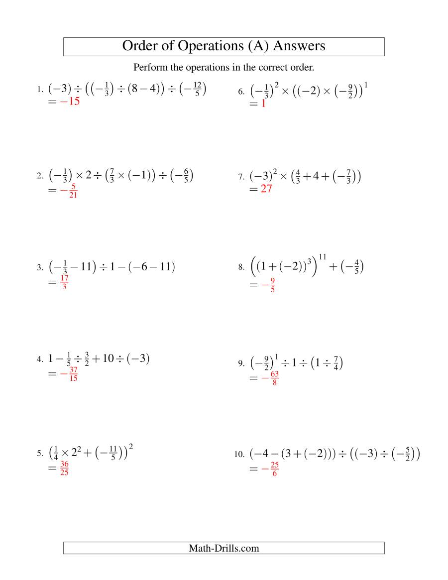 The Order of Operations with Fractions -- Four Steps Including Negative Fractions (Old) Math Worksheet Page 2