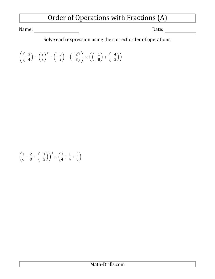 The Order of Operations with Negative and Positive Fractions (Six Steps) (A) Math Worksheet