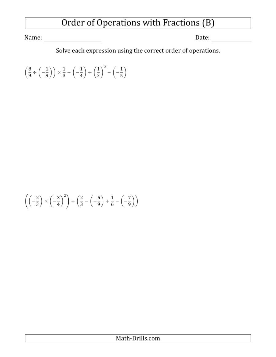 The Order of Operations with Negative and Positive Fractions (Six Steps) (B) Math Worksheet