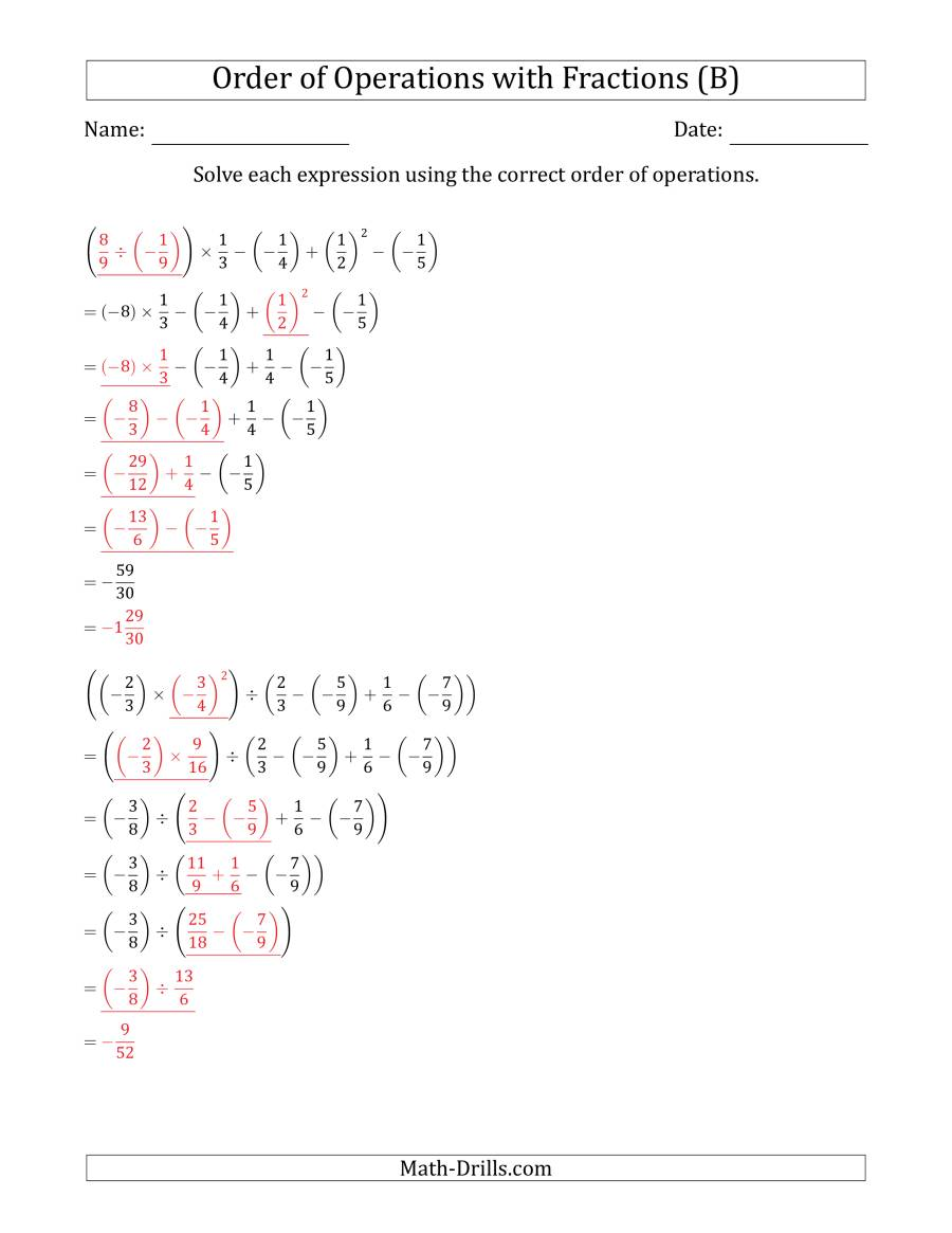 The Order of Operations with Negative and Positive Fractions (Six Steps) (B) Math Worksheet Page 2