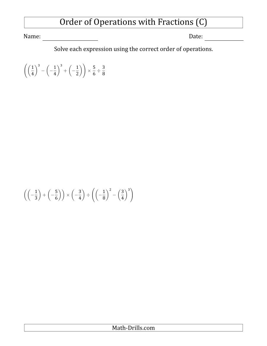 The Order of Operations with Negative and Positive Fractions (Six Steps) (C) Math Worksheet
