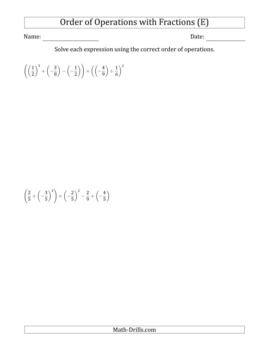 The Order of Operations with Negative and Positive Fractions (Six Steps) (E) Math Worksheet