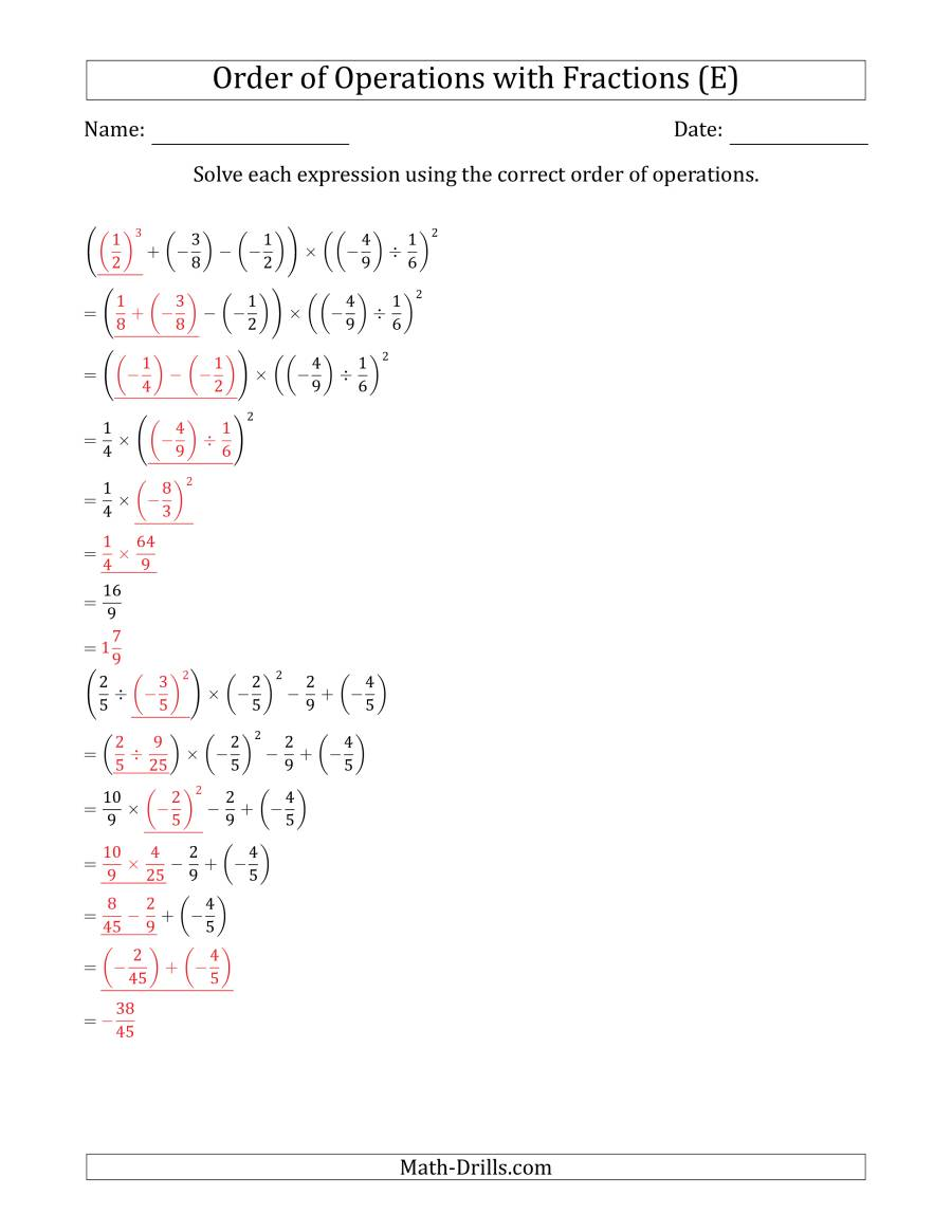The Order of Operations with Negative and Positive Fractions (Six Steps) (E) Math Worksheet Page 2