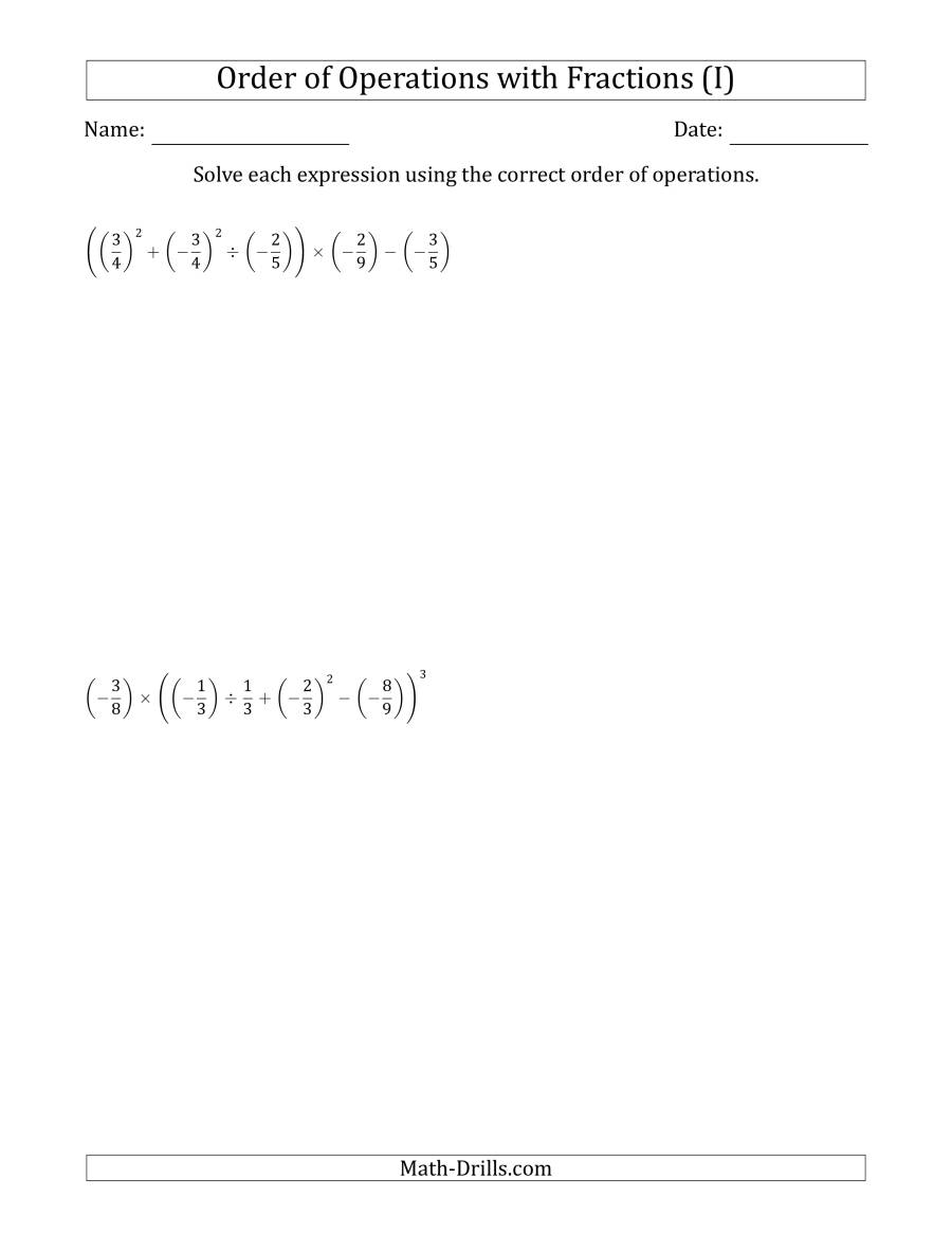The Order of Operations with Negative and Positive Fractions (Six Steps) (I) Math Worksheet