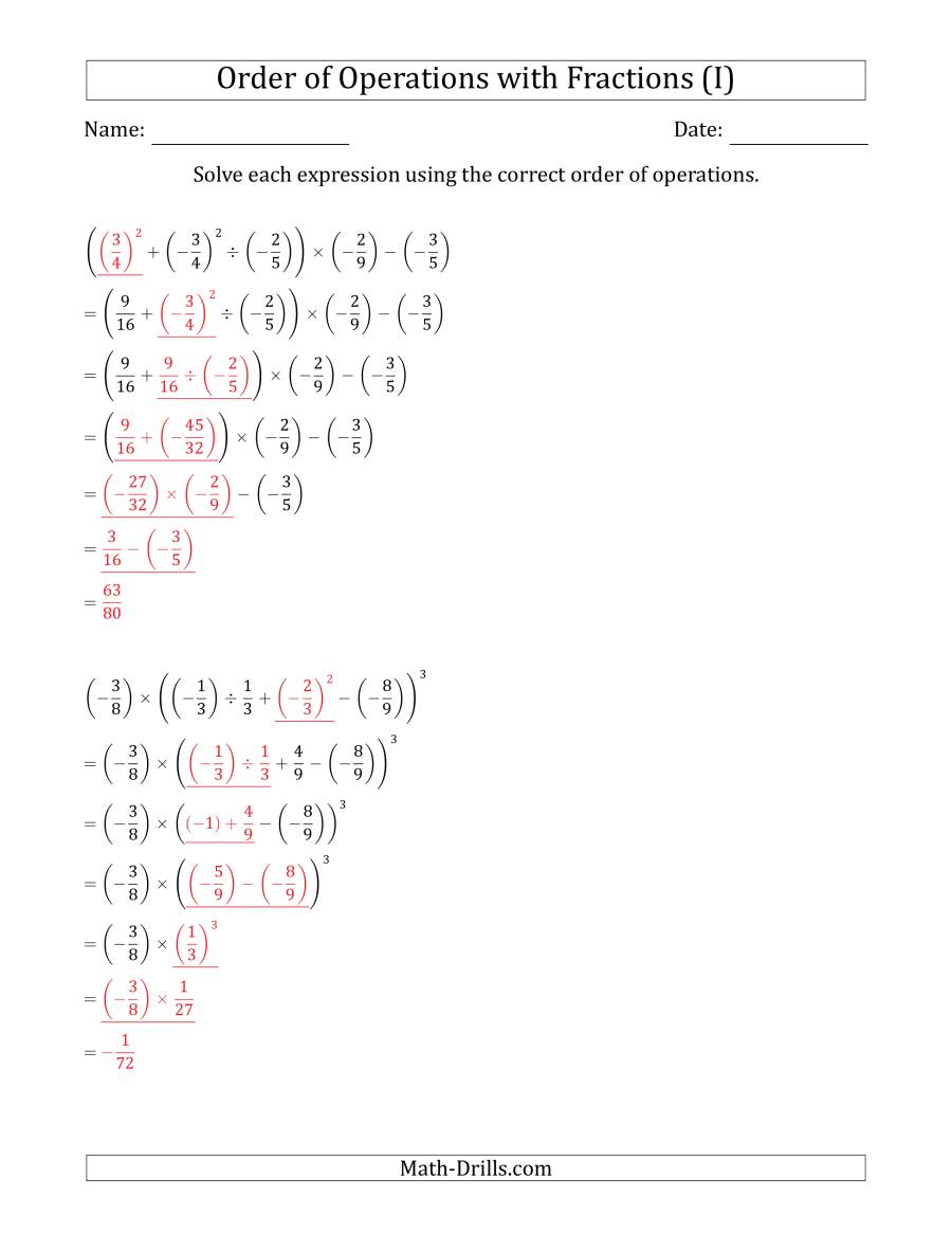 The Order of Operations with Negative and Positive Fractions (Six Steps) (I) Math Worksheet Page 2