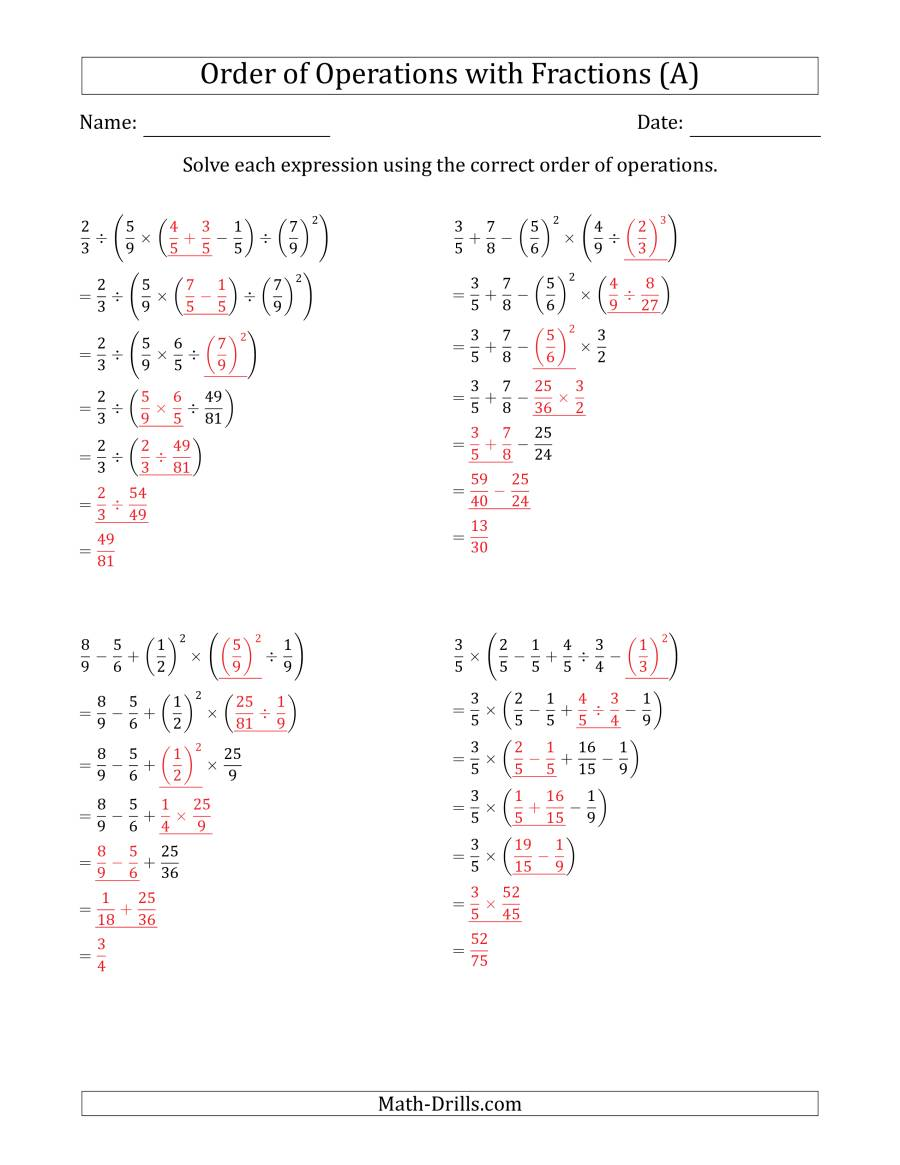The Order of Operations with Positive Fractions (Six Steps) (A) Math Worksheet Page 2