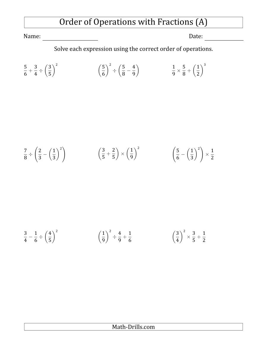 The Order of Operations with Positive Fractions (Three Steps) (A) Math Worksheet