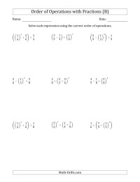 Order of Operations with Fractions    Three Steps B ...