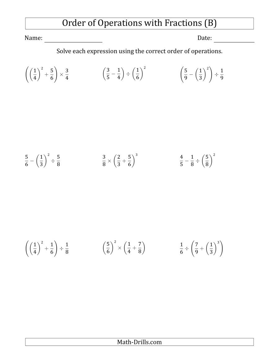 The Order of Operations with Positive Fractions (Three Steps) (B) Math Worksheet