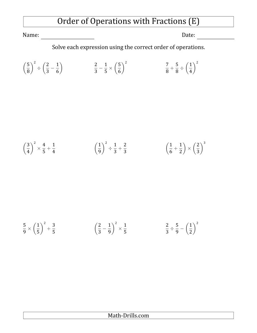 The Order of Operations with Positive Fractions (Three Steps) (E) Math Worksheet