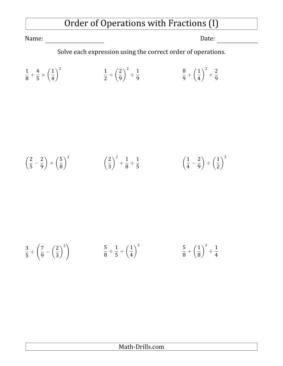 The Order of Operations with Positive Fractions (Three Steps) (I) Math Worksheet