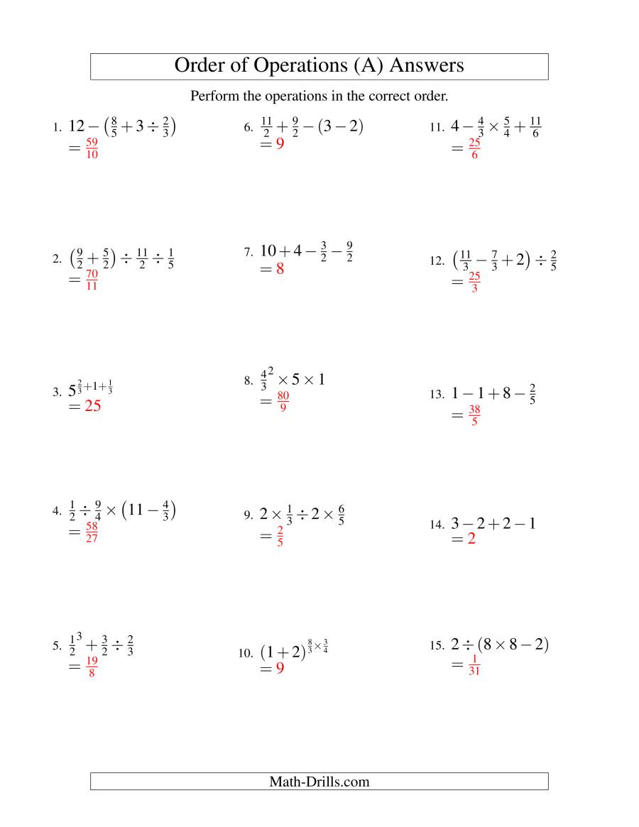 The Order of Operations with Fractions -- Three Steps (Old) Math Worksheet Page 2