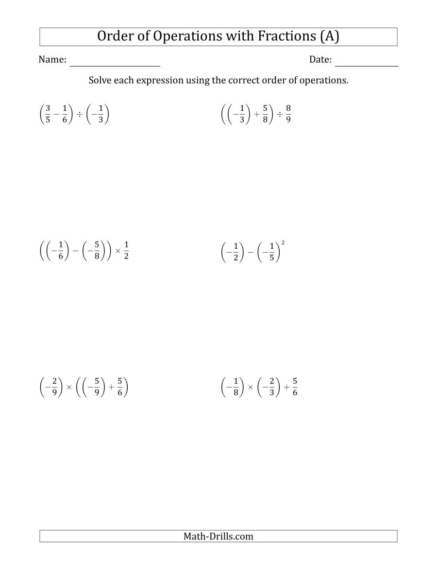 Order of Operations with Negative and Positive Fractions Two – Negative Fractions Worksheet