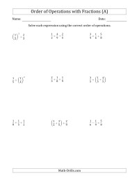 fractions worksheets order of operations with fractions