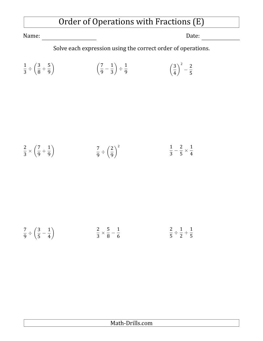 The Order of Operations with Positive Fractions (Two Steps) (E) Math Worksheet