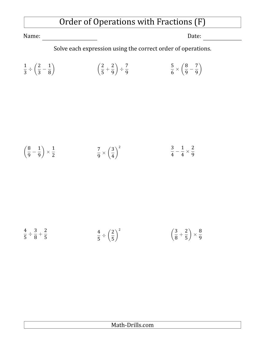 The Order of Operations with Positive Fractions (Two Steps) (F) Math Worksheet
