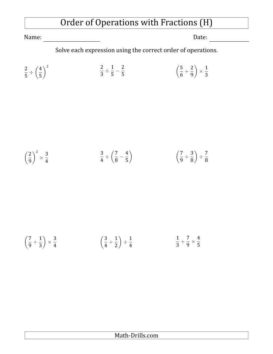 The Order of Operations with Positive Fractions (Two Steps) (H) Math Worksheet