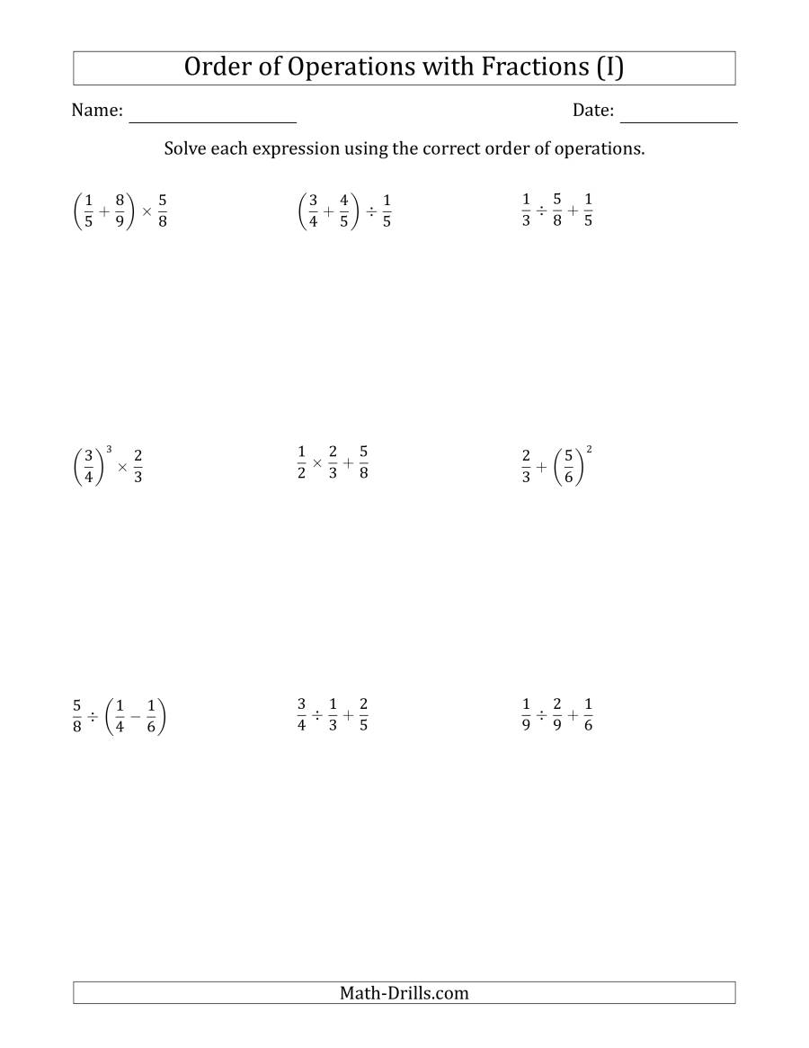 The Order of Operations with Positive Fractions (Two Steps) (I) Math Worksheet