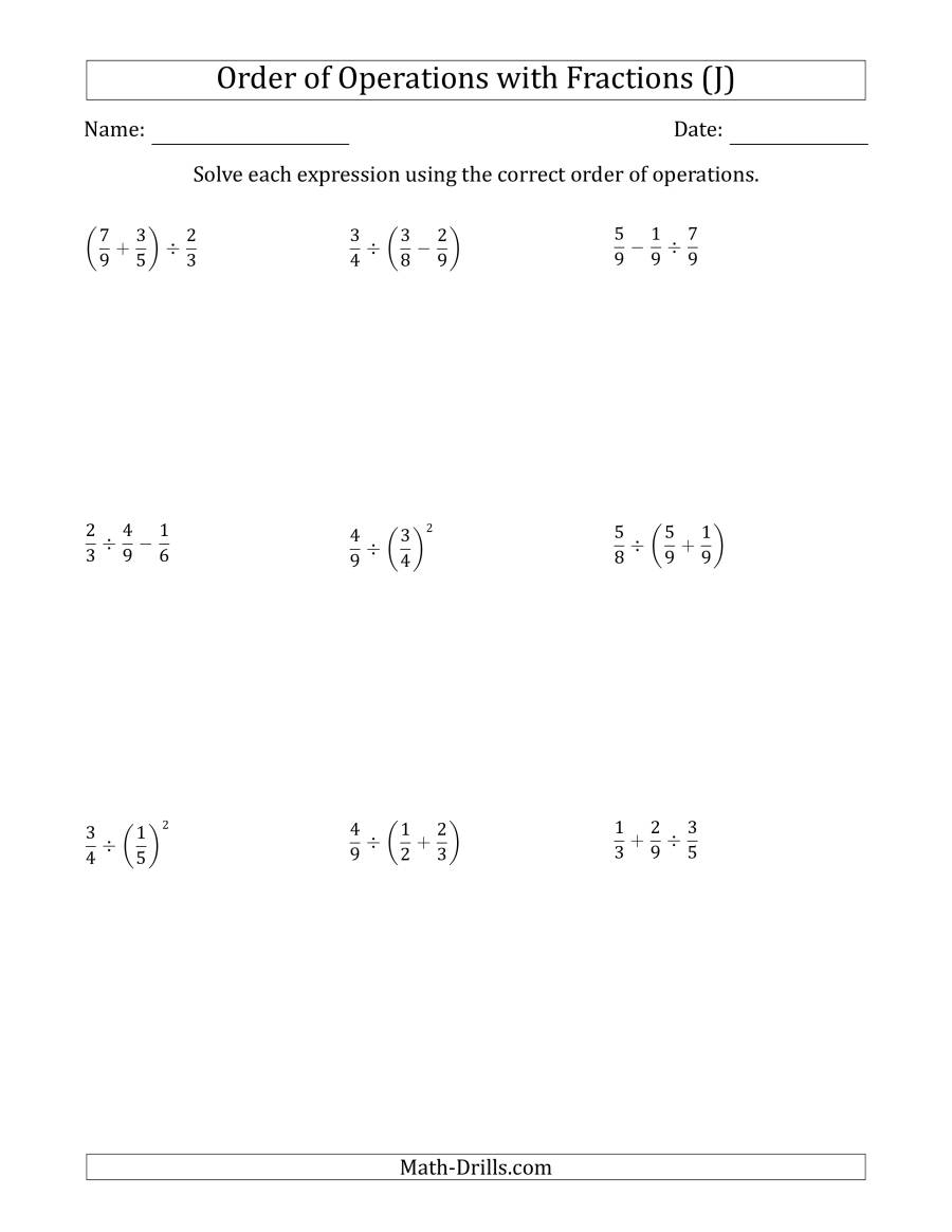 The Order of Operations with Positive Fractions (Two Steps) (J) Math Worksheet