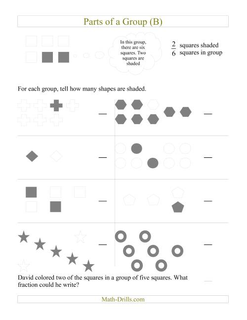 The Parts of a Group Fraction Models (B) Math Worksheet